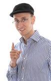 Lokalisierter französischer Mann mit der Kappe, die Rat gibt Stockbild