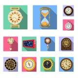 Lokalisierter Gegenstand der Uhr und der Zeitikone Sammlung des Uhr- und Kreisaktiensymbols f?r Netz vektor abbildung