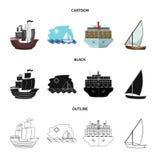Lokalisierter Gegenstand der Yacht- und Schiffsikone Sammlung der Yacht- und Kreuzfahrtvektorikone f?r Vorrat stock abbildung