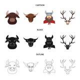 Lokalisierter Gegenstand des Geweihs und des Tiersymbols Stellen Sie vom Geweih und von der Todesvektorikone f?r Vorrat ein lizenzfreie abbildung