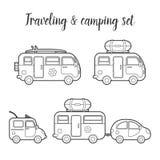 Lokalisierter Ikonensatz des Vektortransportes Wohnwagen Stockbilder