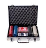 Lokalisierter Koffer mit Poker Stockfotos