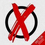 Lokalisierter Kreis mit Ikonen-Symbol der roten quer- Vektor-Illustration - lokalisiert auf transparentem Hintergrund lizenzfreie abbildung