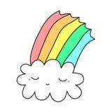 Lokalisierter netter Wolkenregenbogen Süß Stockbilder