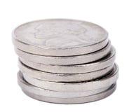 Lokalisierter Nickelmünze-Stapel stockfotos