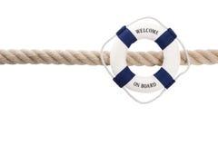 Lokalisierter Rettungsgürtel des Willkommens an Bord - für Teamwork, Feiertag oder tr Lizenzfreies Stockbild