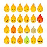 Lokalisierter Satz der Feuerflamme lustige Emoticons vektor abbildung
