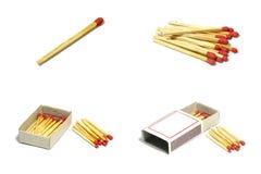 Lokalisierter Satz des roten Matchstockes der Gruppe mit Kasten auf weißem Hintergrund Stockfoto
