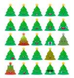 Lokalisierter Satz des Weihnachtsbaums lustige Emoticons lizenzfreie abbildung