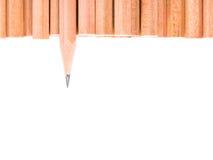 Lokalisierter scharfer Bleistiftstand aus anderen braunen Bleistiften heraus Lizenzfreie Stockbilder