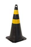 Lokalisierter schwarzer und gelber Verkehrskegel Stockfoto