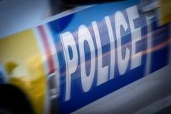 Lokalisierter Seitenschuß eines Polizeifahrzeugs stockfotografie