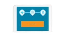 Lokalisierter Tablettenschirm mit on-line-Reiseikone lizenzfreie abbildung