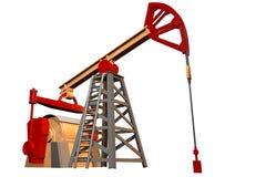 Lokalisiertes Ölquelle auf weißem Hintergrund - 3D Illustration, industrielle Illustration stock abbildung