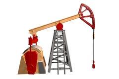 Lokalisiertes Ölquelle auf weißem Hintergrund - 3D Illustration, industrielle Illustration lizenzfreie abbildung