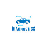 Lokalisiertes abstraktes blaues Farbauto-Diagnostiklogo auf dem weißen Hintergrund Seitenansichtfirmenzeichen des Automobils mech Stockfotografie