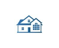 Lokalisiertes abstraktes blaues Farbhaus-Konturnlogo Immobiliengebäudefirmenzeichen Kaufeigentums-Geschäftsikone Stockfoto