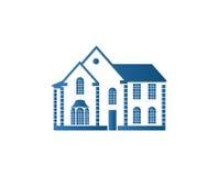 Lokalisiertes abstraktes blaues Farbhaus-Konturnlogo Immobiliengebäudefirmenzeichen Kaufeigentums-Geschäftsikone Lizenzfreies Stockfoto