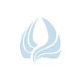 Lokalisiertes abstraktes blaues Farbvogel-Elementlogo Ausgebreitete Flügel mit Federfirmenzeichen Flugikone Luftzeichen Vektor Lizenzfreie Stockfotos