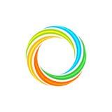 Lokalisiertes abstraktes buntes Kreissonnenlogo Regenbogenfirmenzeichen der runden Form Strudel-, Tornado- und Hurrikanikone Spin Stockfotos
