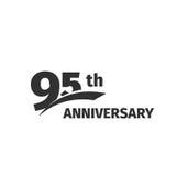 Lokalisiertes abstraktes Jahrestagslogo des Schwarzen 95. auf weißem Hintergrund Firmenzeichen mit 95 Zahlen Fünfundneunzig Jahre Lizenzfreie Stockfotografie