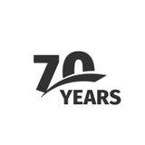 Lokalisiertes abstraktes Jahrestagslogo des Schwarzen 70. auf weißem Hintergrund Firmenzeichen mit 70 Zahlen Siebzig Jahre Jubilä Stockbilder