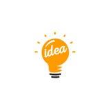 Lokalisiertes abstraktes orange Farbglühlampefirmenzeichen, Logo auf weißem Hintergrund beleuchtend, Ideensymbol-Vektorillustrati Lizenzfreies Stockbild