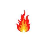 Lokalisiertes abstraktes rotes und orange Farbfeuer-Flammenlogo auf weißem Hintergrund Lagerfeuerfirmenzeichen Würziges Lebensmit Lizenzfreie Stockfotografie
