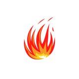 Lokalisiertes abstraktes rotes und orange Farbfeuer-Flammenlogo auf weißem Hintergrund Lagerfeuerfirmenzeichen Würziges Lebensmit Stockbild