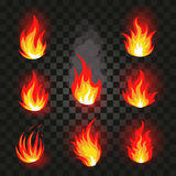 Lokalisiertes abstraktes rotes und orange Farbfeuer-Flammenlogo stellte auf schwarzen Hintergrund ein Realistisches heißes Lagerf Stockbild