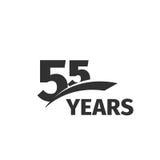 Lokalisiertes abstraktes schwarzes Jahrestagslogo der Farbe 55. auf weißem Hintergrund Firmenzeichen mit 55 Zahlen Fünfundfünfzig Stockbild