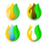 Lokalisiertes abstraktes Wasser, Milch, Honig, Kaffeetropfen des grünen frischen Blattes und Palmenlogosatz Natürliches Getränkfi Stockbilder