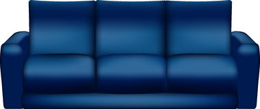 Lokalisiertes blaues Sofa - Vektor-Illustration Stockbild