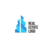 Lokalisiertes buntes Immobilienagenturlogo, Hausfirmenzeichen auf Weiß, Hauptkonzeptikone, Wolkenkratzervektorillustration Lizenzfreie Stockbilder