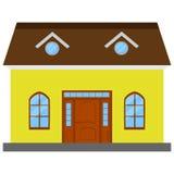 Lokalisiertes gelbes Haus Stockfotografie