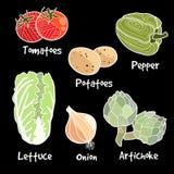 Lokalisiertes Gemüse, Vegetariersatz, Illustrationen Stockfoto