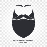Lokalisiertes Gesicht mit Schnurrbart- und Bartvektorlogo Mannfriseursalonemblem Lizenzfreies Stockbild