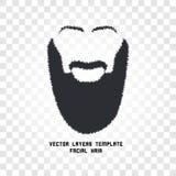 Lokalisiertes Gesicht mit Schnurrbart- und Bartvektorlogo Mannfriseursalonemblem Lizenzfreie Stockbilder