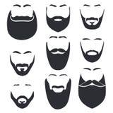 Lokalisiertes Gesicht mit Schnurrbart- und Bartvektorlogosatz Mannfriseursalonemblem Stockbilder