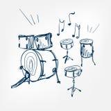 Lokalisiertes Gestaltungselement des Trommelsatzskizzen-Vektors Illustration lizenzfreie abbildung