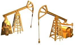 Lokalisiertes goldenes Ölquelle auf weißem Hintergrund - 3D Illustration, industrielle Illustration lizenzfreie abbildung