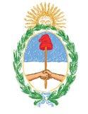 Lokalisiertes Hand gezeichnetes Emblem von Argentinien - gelbe Sonne, wre Stockfotos