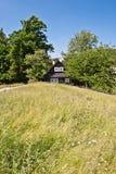 Lokalisiertes Holzhaus zwischen Bäumen Stockbild