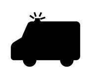 lokalisiertes Ikonendesign des Krankenwagens Schattenbild Lizenzfreie Stockfotos