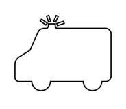 lokalisiertes Ikonendesign des Krankenwagens Schattenbild Lizenzfreies Stockfoto