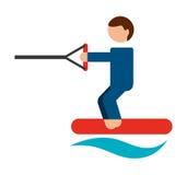 lokalisiertes Ikonendesign des Skis Wasser Lizenzfreies Stockbild