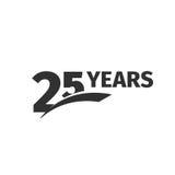 Lokalisiertes 25. Jahrestagslogo des abstrakten Schwarzen auf weißem Hintergrund Firmenzeichen mit 25 Zahlen Fünfundzwanzig Jahre Stockfotografie