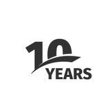 Lokalisiertes 10. Jahrestagslogo des abstrakten Schwarzen auf weißem Hintergrund Firmenzeichen mit 10 Zahlen Zehn Jahre Jubiläumf Lizenzfreie Stockfotografie