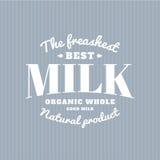 Lokalisiertes Milchvektorlogo Weißes Schreiben Molkereiemblem Alte Schulaufkleber Lizenzfreies Stockbild