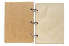 Lokalisiertes Notizbuch mit brauner Farbe der Seiten Lizenzfreies Stockbild